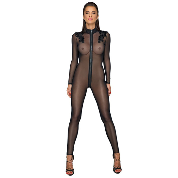 1A- Catsuit Tulle Noirhandmade