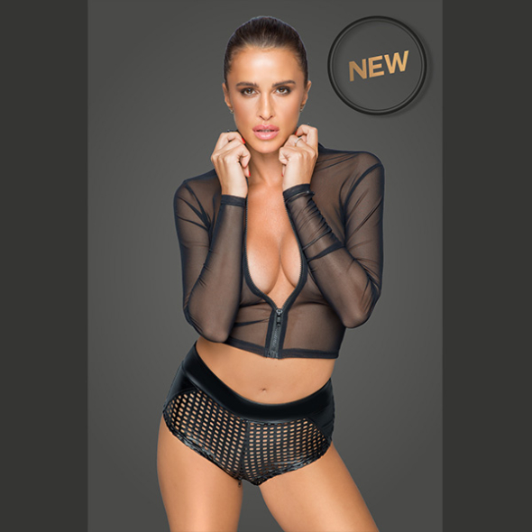 A-Zipped tulle top F220