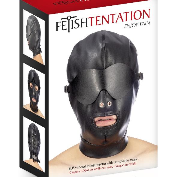 Fetish Tentation Cagoule BDSM simil-cuir masque amovible