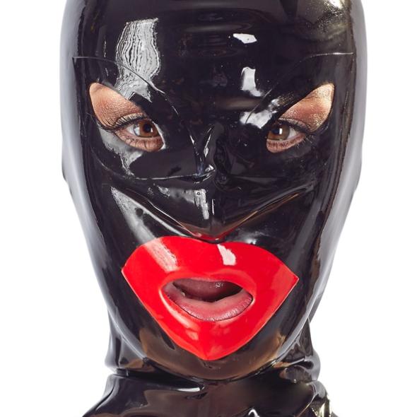 A- Masque Bouche Rouge zip Latex