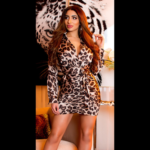 Robe satin animal-print