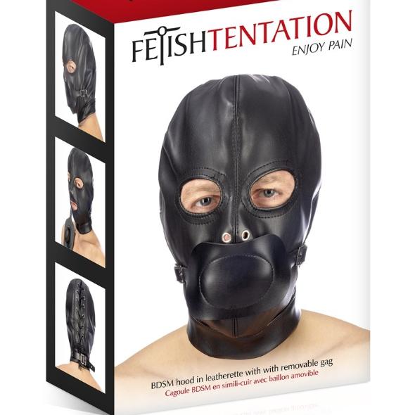 Fetish Tentation Cagoule BDSM simili-cuir avec baillon amovible