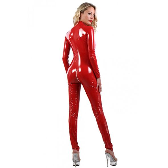 A- Soisbelle Combinaison Vinyle Zip Red