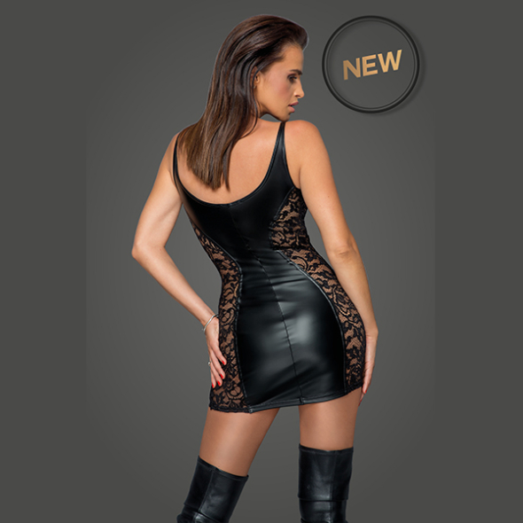 Wetlook dress with lace inserts F229