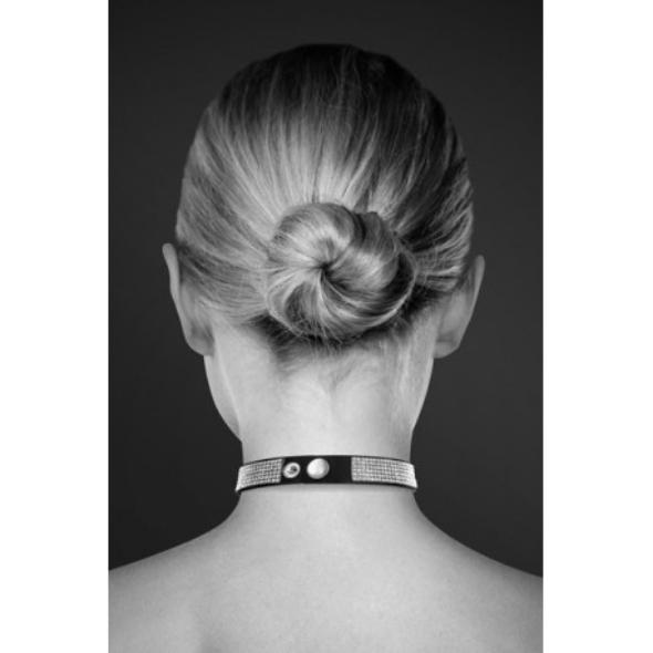 Bijoux pour Toi Collier noir et strass ras de cou COEUR argenté
